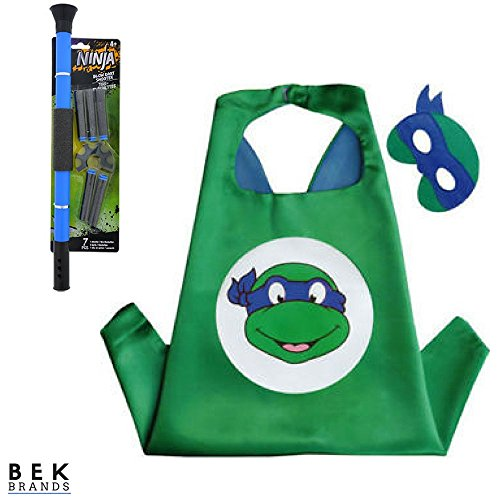Bek Brands Children's Superhero Costume Cape and Mask Sets (TMNT - Leonardo w/Blow Dart)]()