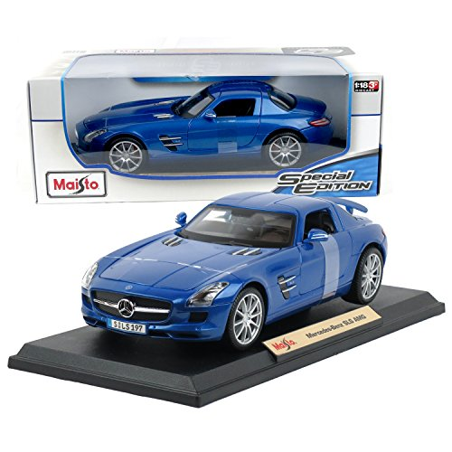 - Maisto Year 2015 Special Edition Series 1:18 Scale Die Cast Car Set - Metallic Blue Color Roadster MERCEDES BENZ SLS AMG with Gull-Wing Doors, Spoiler & Display Base (Car Dimension: 9-1/2