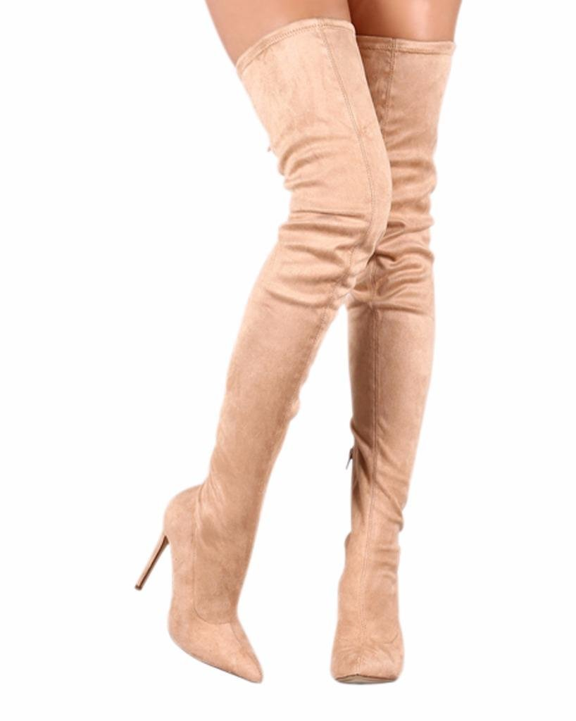 CAMSSOO Women's Thigh High Stretch Boots Side Zipper Pointy Toe Stiletto Heel Knee High Boots B01NBJU1BD US8/39|Nude Ve
