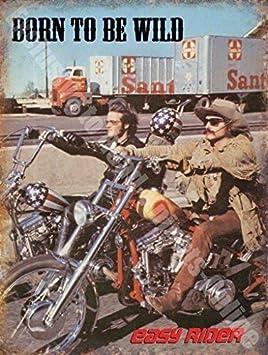 Easy Rider Born to be Wild de garage pour moto Panneau mural en m/étal//acier 15 x 20 cm Acier
