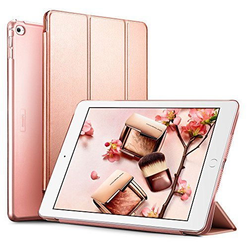 Smart Case Cover [Synthetic Leather] Translucent Frosted Back Magnetic Cover with Auto Sleep/Wake Function [Light Weight] (Rose Gold)? ()