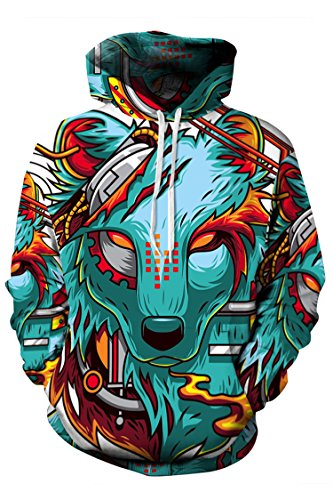 Timemory Unisex Mechanical Wolf Printed Pockets Hoodie Sweatshirt XL Print #19 (Santa Hoodie)
