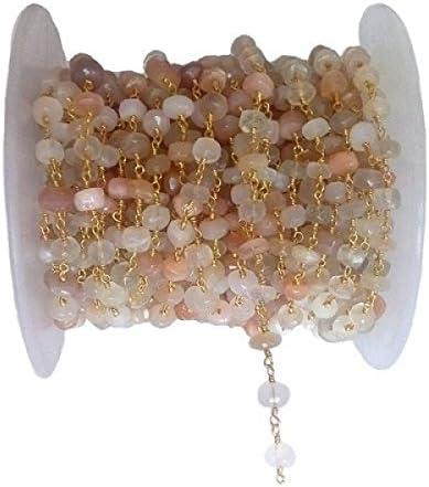 Cadena de cuentas de piedra lunar múltiple, cadena de rosario, cadena de cuentas de piedras semipreciosas, multipiedra lunar de Israel de 8 mm, cadena de cuentas chapada en oro