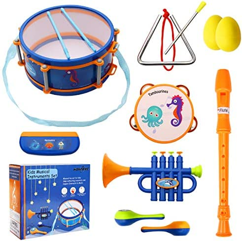 Zerodis Instrumento Educativo Juguetes Interesante Tambor Arena Martillo Trompeta Musical Juguetes Regalo para ni/ños Rosado