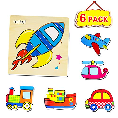 Puzzle Plane - Wooden Puzzle for Toddler (Set of 6) Transport Vehicle Jigsaw Floor Puzzles for Kid 2 3 4 5 Year Old - Helicopter, Locomotive, Rocket, Plane, Ship and car