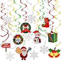 Fxozru Christmas Hanging Swirl Decoration 36Pcs - Foil Christmas Hanging Ornament, Christmas Hanging Pendant, Christmas Snowflake, Christmas Paper Cutout for Winter New Year, Xmas, Christmas Party