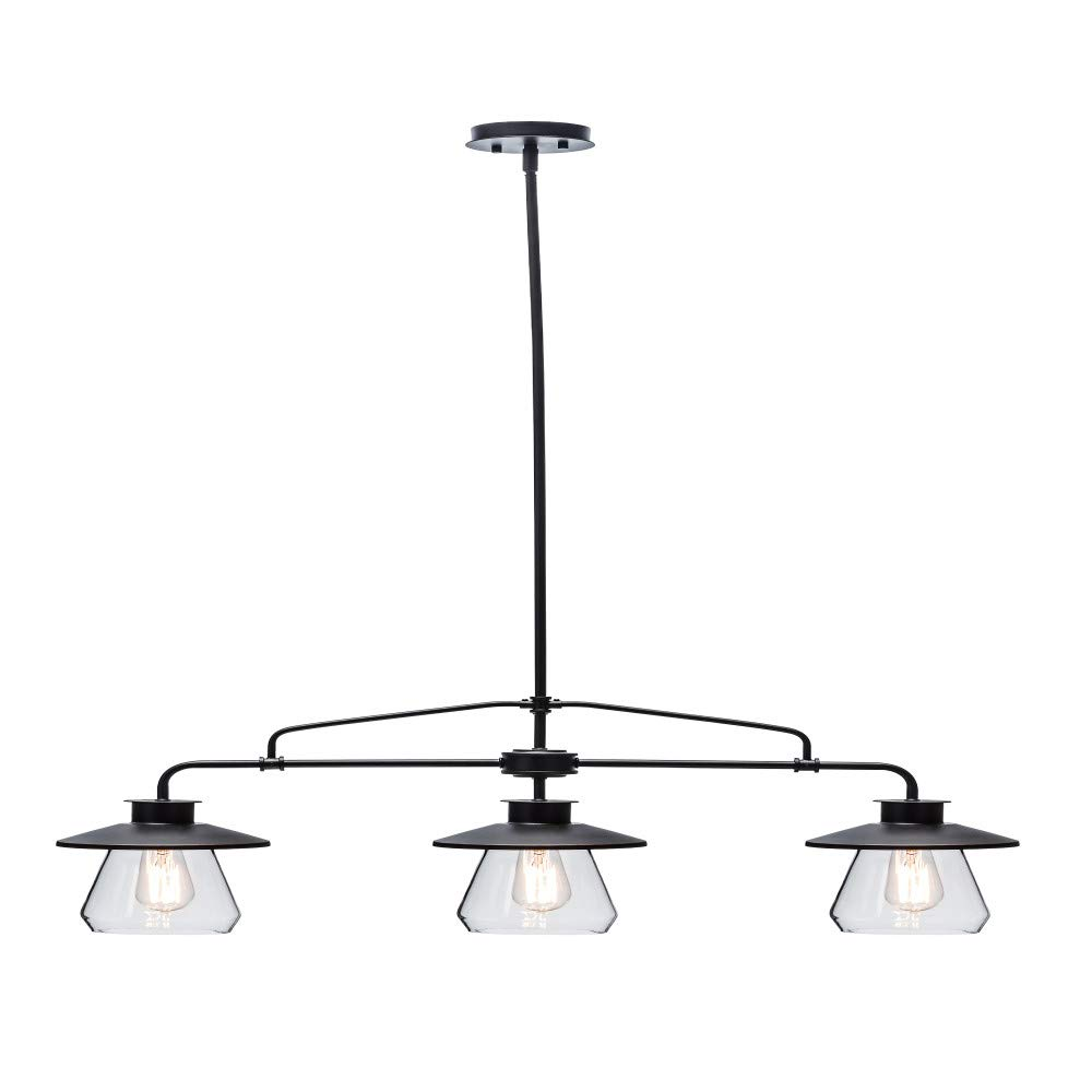Globe Electric 64845 Nate 3-Light Pendant, Bronze, Oil Rubbed Finish, Clear Glass Shades