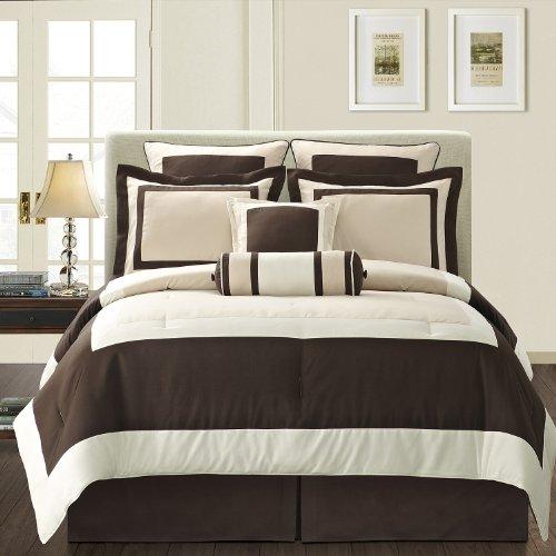 Amazon.com: Fashion Street Gramercy 8 Piece Comforter Set, Queen,  Ivory/Brown: Home U0026 Kitchen