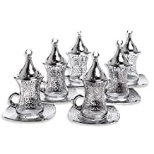 Premium Silver plated Gilded Tea Set for 6 - Made in Turkey - 24 pieced set, Gilded-Silver