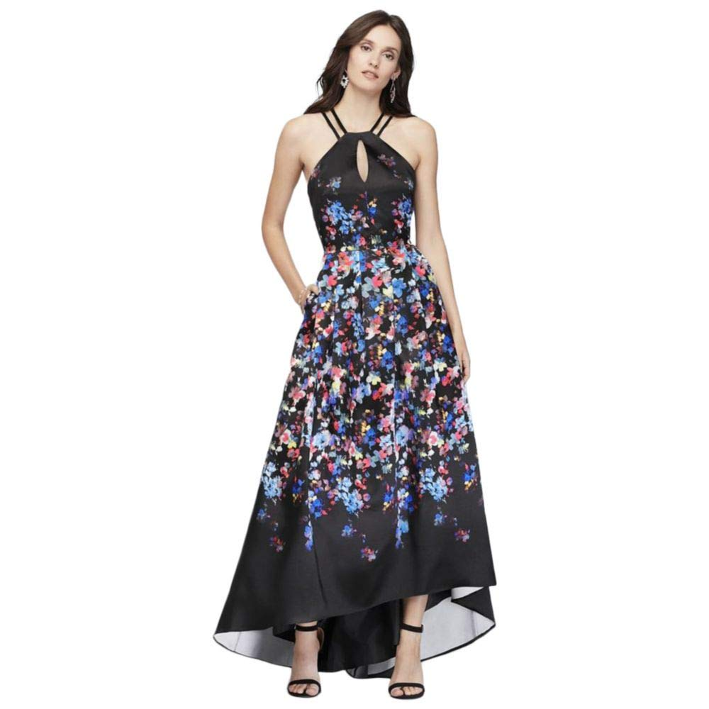 c5b98eacb07 David's Bridal Floral Printed Halter Dress with Lace-Up Back Style 12512 at  Amazon Women's Clothing store: