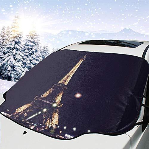 - SHNUFHBD Car Windshield Cover Blocks Snow,Ice,Sun Night France Eiffel Tower Weatherproof Protector Blocks Heat& Sun Fits Most Car,SUV,with Storage Bag