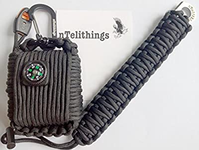 Emergency Paracord Mini Survival Tool Grenade With Paracord Tiny Knife And Fire Starter Bracelet COMBO for men or women. (BLACK) by nTelithings Products
