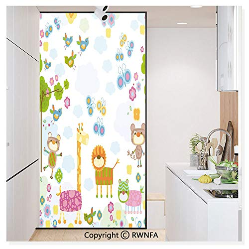 Window Glass Sticker Door Mural Floral Background with Funny and Cute Animals Giraffe Lion Monkeys and Butterflies Static Cling Privacy No Glue Film Home Decorative 11.8x59.8inch,Multicolor