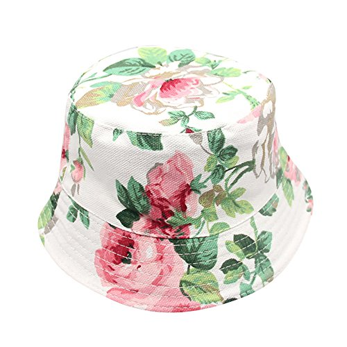SMALLE Clearance Toddler Kids Baby Boys Girls Floral Pattern Bucket Hats Sun Helmet Cap (Hat Circumference:About 54cm, White)