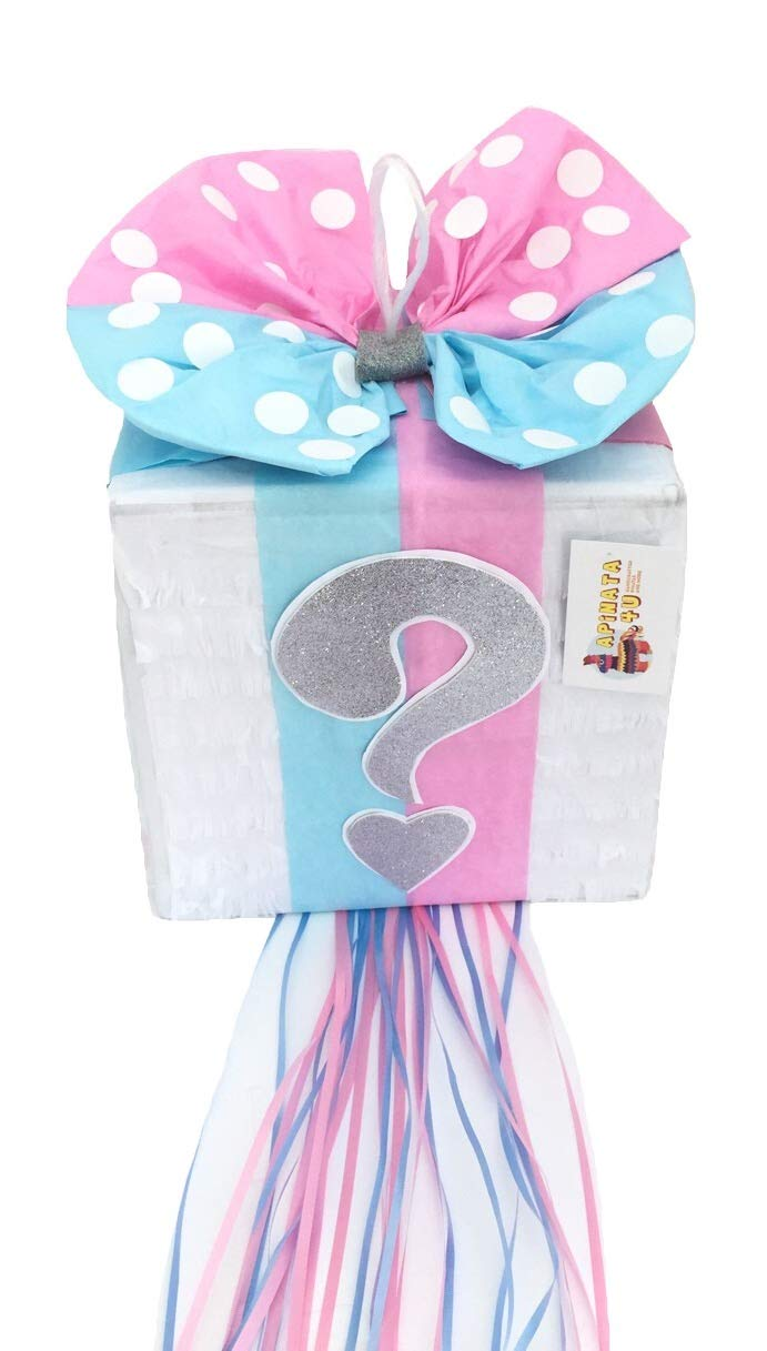 APINATA4U Gender Reveal Gift Box Pinata Light Pink & Blue Color Bow with Silver Question Mark Accent