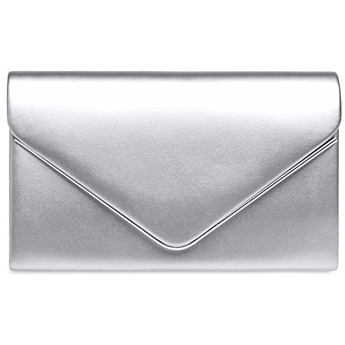 CASPAR Evening Chain with Metallic Silver Detachable Classic Clutch TA413 Envelope Bag Ladies ZxYrq1w4Z