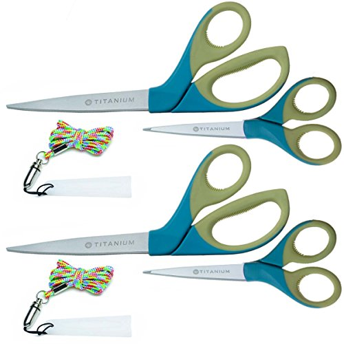 "Titanium Bent Scissors - 4 Piece Set Westcott Titanium 5"" Pointed Scissors 8"