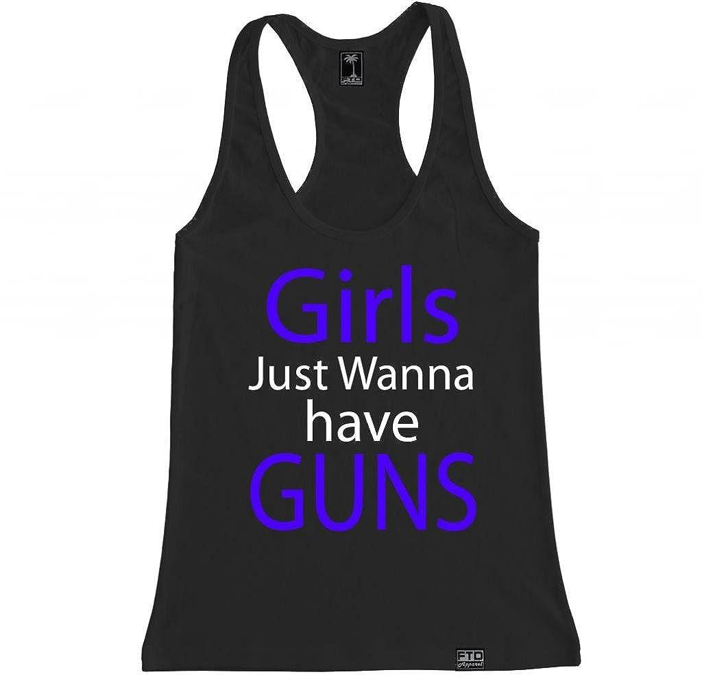 FTD Apparel Women's Girls Just Wanna have Guns Racerback Tank Top RBGIRLGUNS-parent