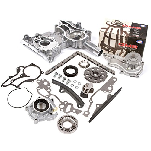 (Fits 85-95 Toyota 2.4 SOHC 8V 22R 22RE 22REC High Performance Heavy Duty Timing Chain Kit w/Timing Cover Oil Pump GMB Water Pump)