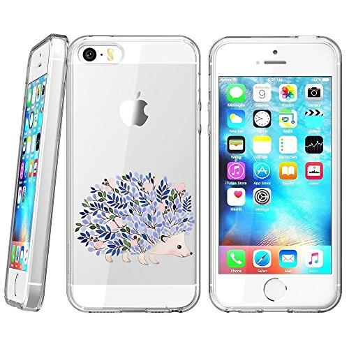 Airando Plant Hedgehog - Carcasa iPhone 5S 5 SE, diseño de erizos, Color Transparente, Plant Hedgehog