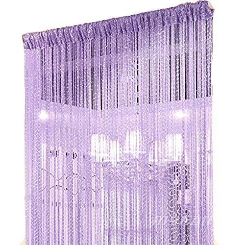 Duosuny 39x78 Inch Door String Curtain Rare Flat Silver Ribbon Thread Fringe Window Panel Room Divider Cute Strip Tassel for Wedding Coffee House Restaurant Parts (Pack of 2 Purple)