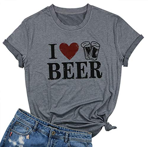 EGELEXY Women Vintage I Love Beer Letter Print T-Shirt Funny Heart Graphic Tees Tops Casual Blouse Size S (Gray)