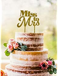 """Miss to Mrs"" Cake Topper - Bridal Shower & Bachelorette Party Sparkling Gold Cake Decoration - Medium Size - 5.5"" x 6.7"""