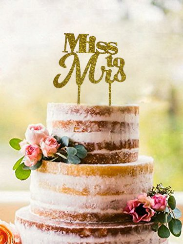 "Golden Celebration Favor Cake - ""Miss to Mrs"" Cake Topper - Bridal Shower & Bachelorette Party Sparkling Gold Cake Decoration - Medium Size - 5.5"" x 6.7"""