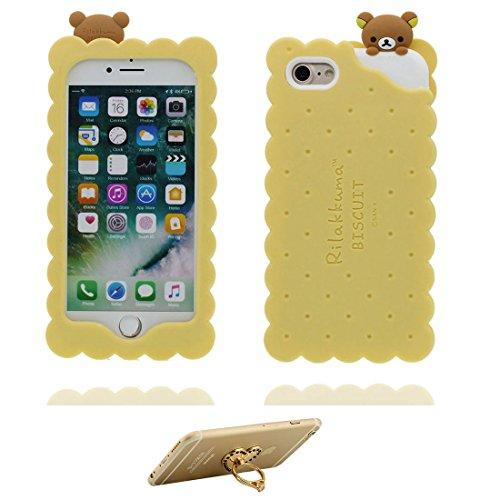 """iPhone 6 Hülle (4.7""""), Handyhülle für iPhone 6s (4.7""""), [ TPU flexibles stilvolles ] iPhone 6S case 3D Keks Bär, bear Staub-Beleg-Kratzer beständig und Ring Ständer für Handy"""