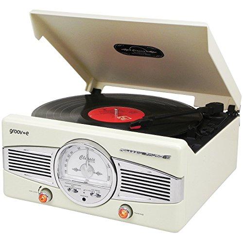Groove Vinyl Turntable with Retro Style FM Radio - Cream by Groove