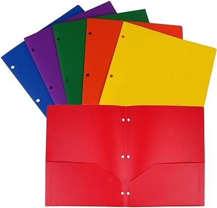 Eagle plástico resistente 3 2-Pocket Carpeta, tamaño carta, varios colores, se adapta para, 3 anillas, 6-pack: Amazon.es: Oficina y papelería