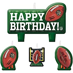 NFL Drive Birthday Party Molded Birthday Candle Set Cake Decoration, Green/Brown, Wax , Pack of 4