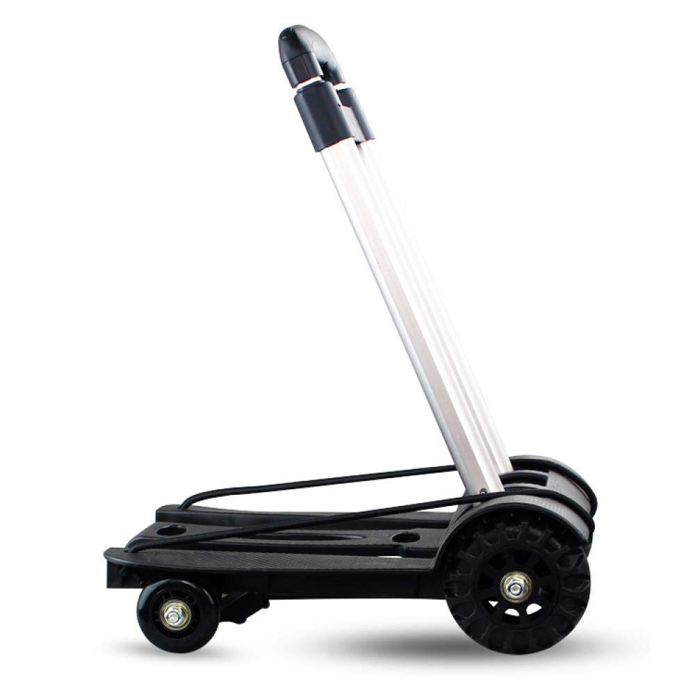 Folding Luggage Cart Four-Wheel Aluminum Alloy Trolley Luggage Cart 4-Wheel Portable Folding Trolley with Ropes Telescopic Pull Rod, Trolley by Hokaime
