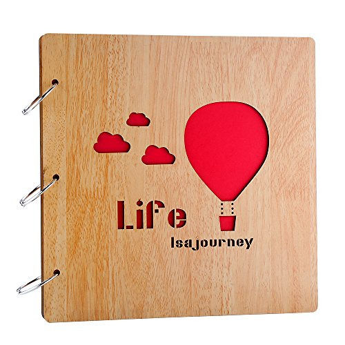 Farway Scrapbook Album Photo Album Wood Cover 3-Ring Binder Scrapbooking for Wedding Guest Book Anniversary Graduation Family Our Love Memory (Life is A Journey)