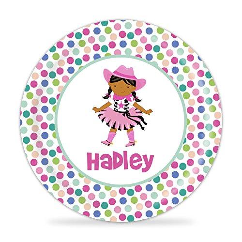 Cowgirl Plate - Blue Pink Peach Polka Dots Cowgirl Melamine