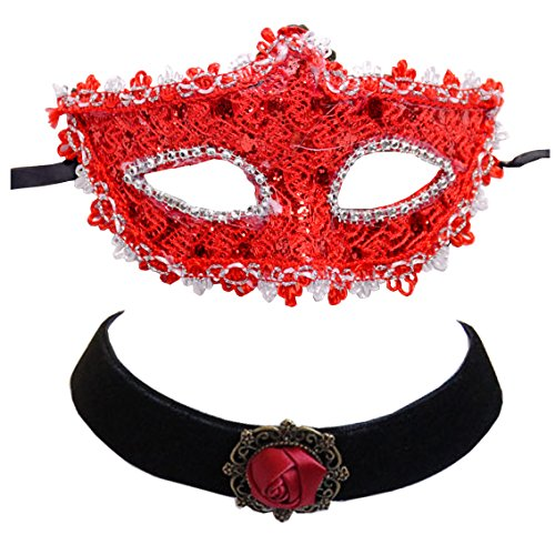 Geek-M Halloween Costume Lace with Rhinestone Venetian Mask Women Masquerade Mask (Red+Choker Necklace) (Venetian Mask Costume)