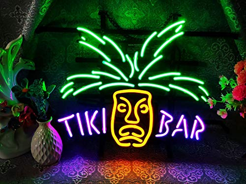 "Tiki Bar Frame Neon Sign 17""X13"" Real Glass Neon Sign Light for Beer Bar Pub Garage Room. …"