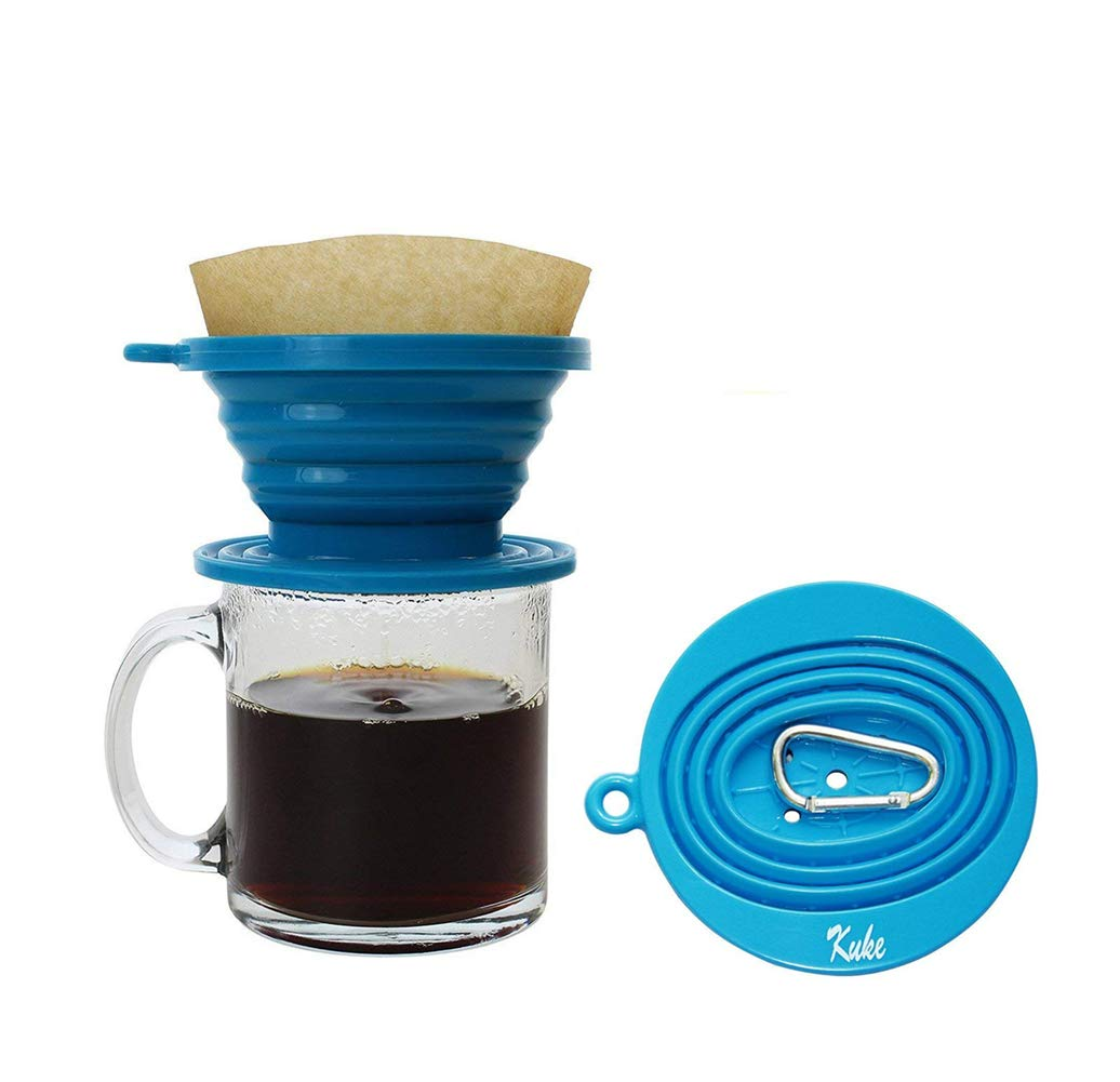 Kuke Reusable Silicone Coffee Dripper with Hook,Collapsible Coffee Filter Holder, Food Grade Tea Filter Cone (Blue)