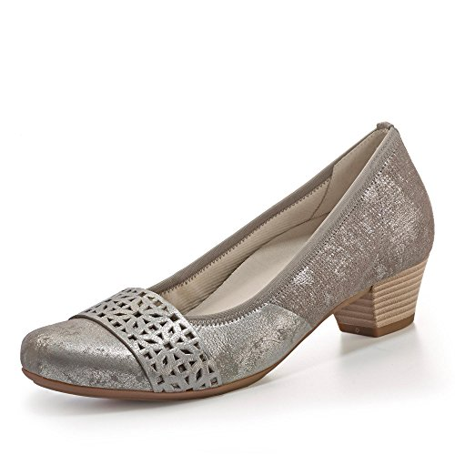 Pompes dames GABOR Confort 42.147.90 gris, Gr. De 37,5 à 40,5, amovible, en cuir, largeur G grau/kombi