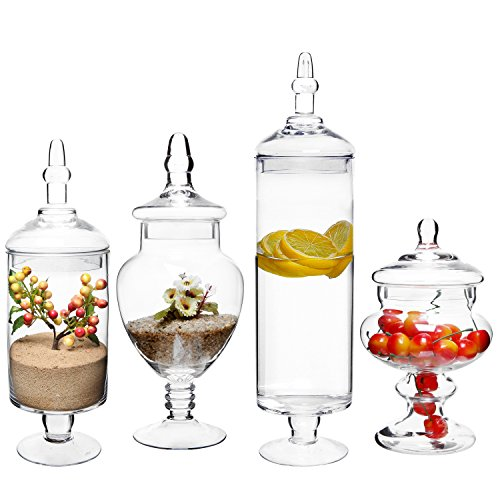 MyGift (Set of 4) Large Classic Clear Glass Lid Apothecary Jars/Candy Buffet/Wedding Centerpiece Home