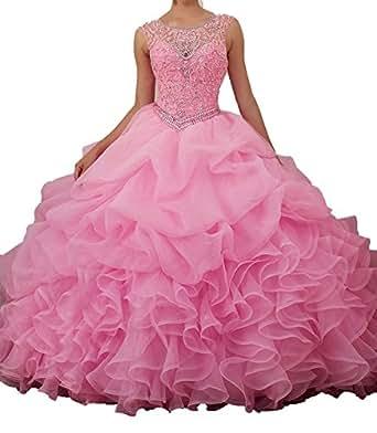 HeleneBridal Women's Long Scoop Neckline Beading Organza Ruffles Quinceanera Dresses Jewel Neck Sleevesssless Wedding Dress