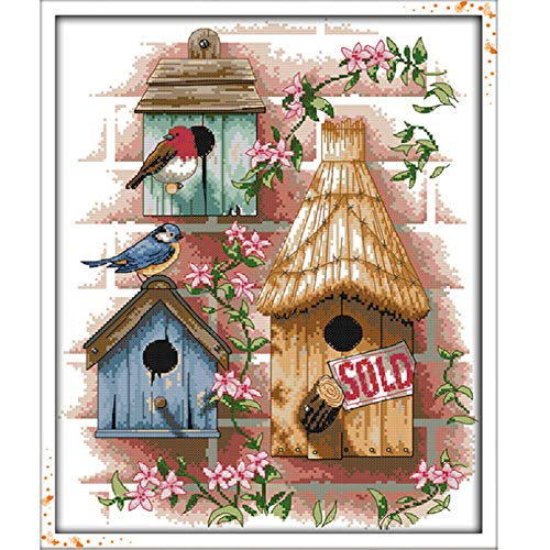 Stamped Cross Stitch Kits - Counted Cross Stitch Kit, Cross-Stitching Patterns Log Cabin 11CT Pre-Printed Fabric - DIY Art Crafts & Sewing Needlepoints Kit for Home Decor 17''x21'' (Cross Stitch Log Cabin)