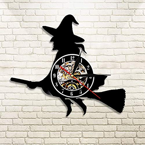 GUDOJK Vinyl Colorful Wall Clock 1Piece Halloween Witch Hazel Silhouette Wall Clock Night of The Living Home Decor Flying Witch Vinyl Record Clock