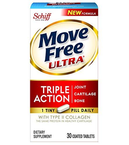 Movimiento libre Ultra Triple acción conjunta suplemento tipo II colágeno, ácido hialurónico y boro para articulación, cartílago y hueso de soporte