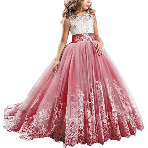 Princess Prom Gowns Style (Girls Toddler Pageant Dresses for Teens Lilac Flower Girls Dress Lovely First Communion Long Sleeves Pink Prom Gown #A Red 4-5T)