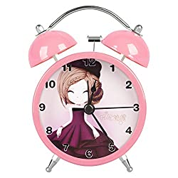 Lovely Classical Retro Twin Bell Mute Silent Quart Movement Non Ticking Sweep Second Hand Bedside Desk Study Analog Alarm Clock for Students with Night and Loud Alarm HA20 (Pink)