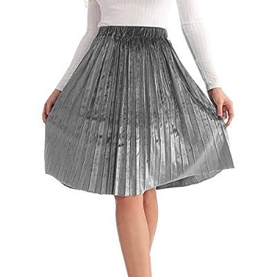 JOAUR Velvet Casual Shiny Metallic Skirt Flowing A-line Flared Swing Midi Skirt