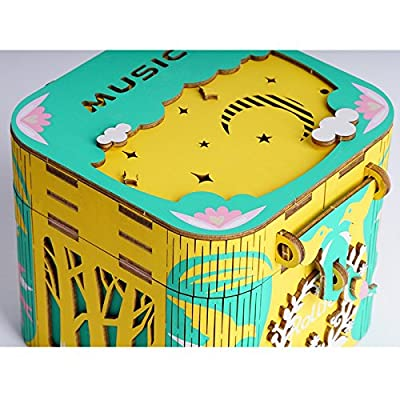 ROBOTIME 3D Wooden Puzzle Hand Crank DIY Music Box Kit - Colorful Model Kits to Build - Rotating Wood Craft Kits Great Birthday for Girls Age 14+(Dancing Ballerma): Toys & Games
