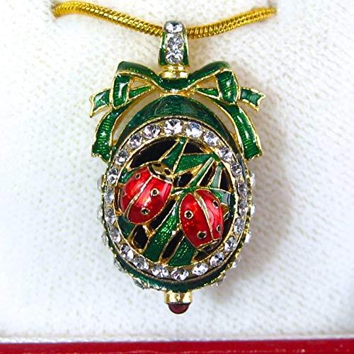 Green Guilloché Enamel Sterling Silver Necklace Ladybugs Pendant Genuine Garnet Swarovski Crystals 24k Gold-plate Chain
