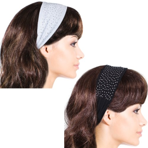 Simple Sparkling Rhinestone Stretch Headband - Black & White (2 Pcs) (Rhinestone Head Wrap)